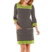 Jessica Howard 3/4-Sleeve Striped Shift Dress