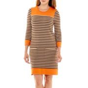 Jessica Howard 3/4-Sleeve Striped Shift Dress