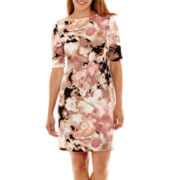 London Style Collection Elbow-Sleeve Sheath Dress