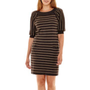 Jessica Howard Elbow-Sleeve Striped Sweater Dress