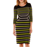 Danny & Nicole® 3/4-Sleeve Striped Sweater Sheath Dress