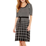 Danny & Nicole® Elbow-Sleeve Belted Sweater Dress