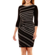 Danny & Nicole® 3/4-Sleeve Side-Ruched Sweater Dress