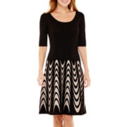 Danny & Nicole® Elbow-Sleeve Fit-and-Flare Sweater Dress
