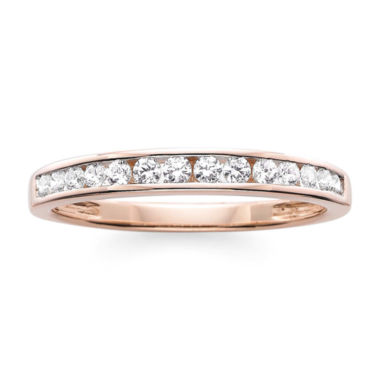 jcpenney.com | 1/4 CT. T.W. Diamond 10K Rose Gold Wedding Band