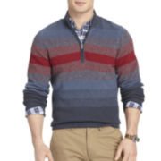 IZOD® Long-Sleeve Striped Quarter-Zip Sweater