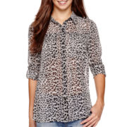 I 'Heart' Ronson® 3/4-Sleeve Leopard Print Top