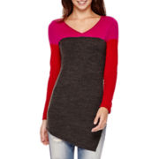I 'Heart' Ronson® Long-Sleeve Colorblock Asymmetrical Sweater