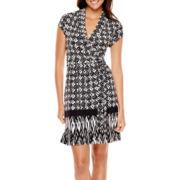 Liz Claiborne® Short-Sleeve Print Belted Wrap Dress