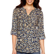 St. John's Bay® Long-Sleeve Roll-Tab Floral Tunic