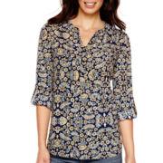 St. John's Bay® Long-Sleeve Roll-Tab Floral Tunic