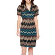 Jessica Howard Short-Sleeve Cowlneck Shift Dress