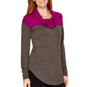 Liz Claiborne® Weekend Long-Sleeve Cowlneck Colorblock Tunic
