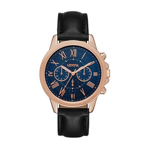 Geneva Womens Rose Gold-Tone Strap Watch
