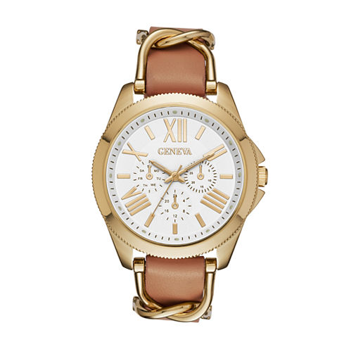 Geneva Gold-Tone Womens Strap Watch