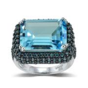 Womens Blue Topaz Halo Ring