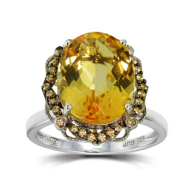 jcpenney.com | Womens Orange Citrine Sterling Silver Halo Ring
