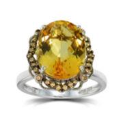 Womens Orange Citrine Halo Ring