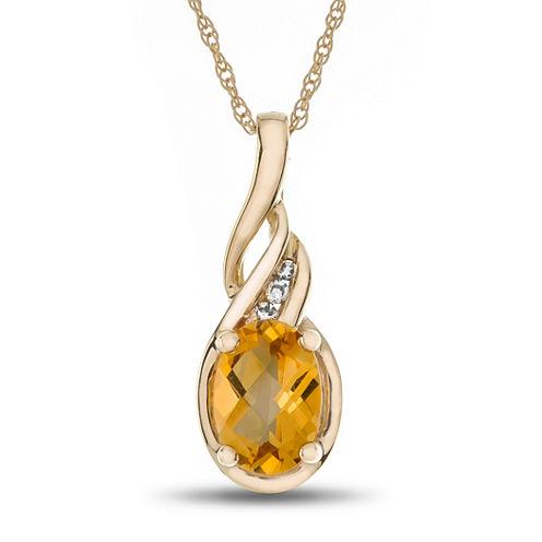 Womens Diamond Accent Yellow Citrine 10K Gold Pendant Necklace
