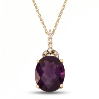 jcpenney.com | Womens Diamond Accent Purple Amethyst 10K Gold Pendant Necklace