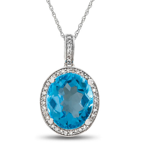 Womens 1/8 CT. T.W. Blue Blue Topaz 10K Gold Pendant Necklace