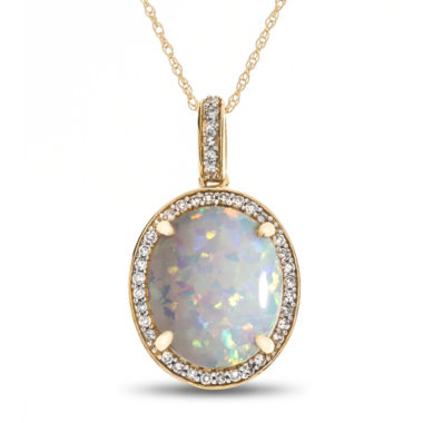 jcpenney.com | Womens 1/8 CT. T.W. Multi Color Opal 10K Gold Pendant Necklace
