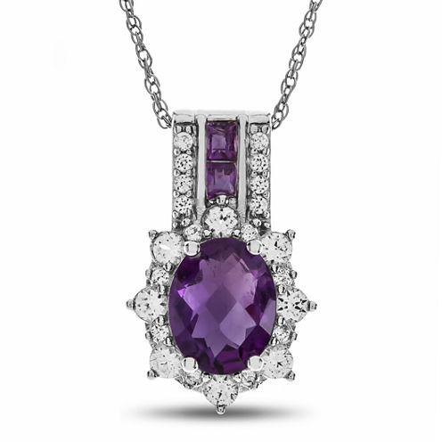 Genuine Amethyst & Lab Created White Sapphire Sterling Silver Pendant