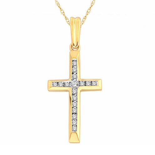 Womens 1/10 CT. T.W. White Diamond 10K Gold Pendant Necklace