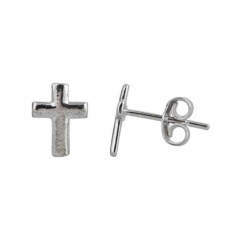 Sterling Silver Polished Cross Stud Earrings