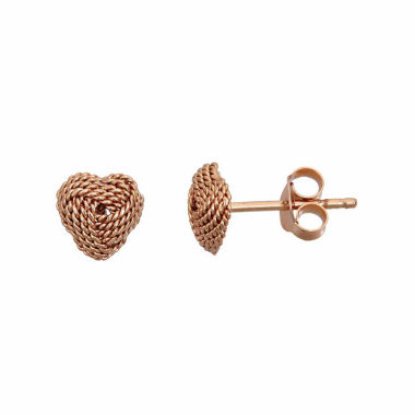 jcpenney.com | Rose Tone Sterling Silver Rope Heart Love Stud Earring