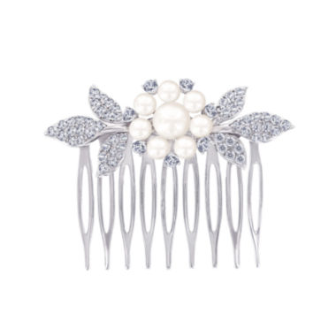 jcpenney.com | DiamonArt® Sterling Silver Freshwater Pearl Flower Hair Comb