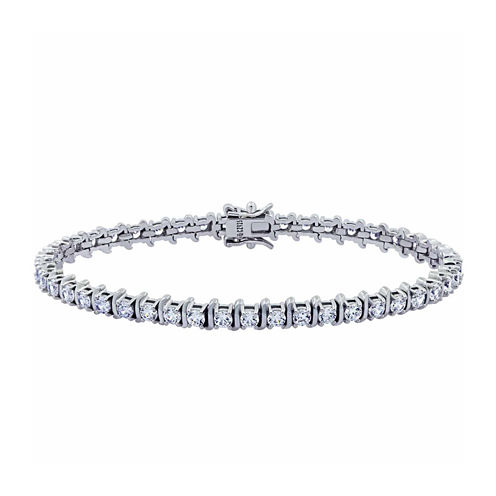Diamonart Womens White Cubic Zirconia Tennis Bracelet