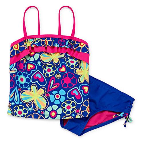 Okie Dokie Girls Pattern Tankini Set - Preschool