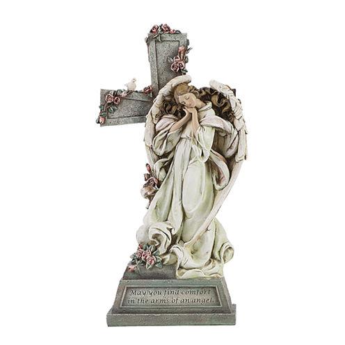 """14.75"""" Angel With Cross Memorial Outdoor"""
