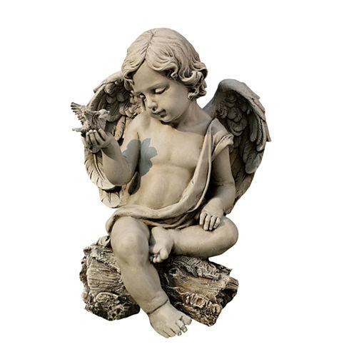 """12"""" Cherub with Dove Outdoor Statue"""