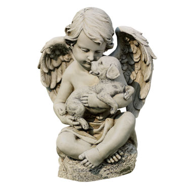 "jcpenney.com | 12"" Cherub with Puppy Outdoor Statue"