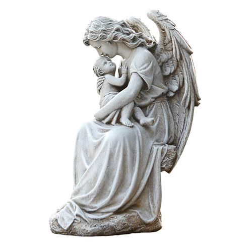 """15"""" Angel With Baby Outdoor Statue"""