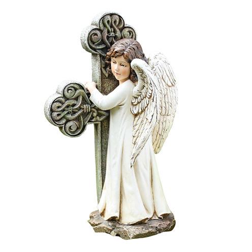"""11.75"""" Angel Cross Outdoor Statue"""