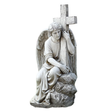 "jcpenney.com | 13"" Seated Male Angel With Cross Outdoor"