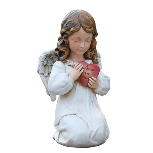 """11.75"""" Angel With Heart Outdoor Statue"""