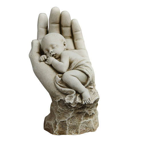"""11.25"""" In The Palm Of His Hand Outdoor Statue"""