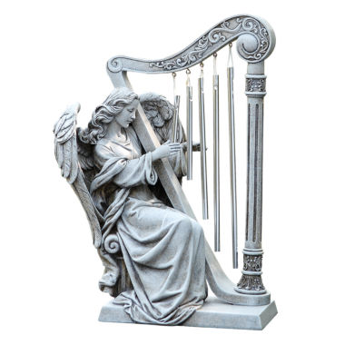 "jcpenney.com | 10"" Angel With  Harp Chimes Outdoor Statue"
