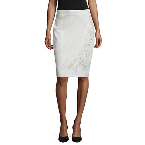 Liz Claiborne Embroided Shine Pencil Skirt