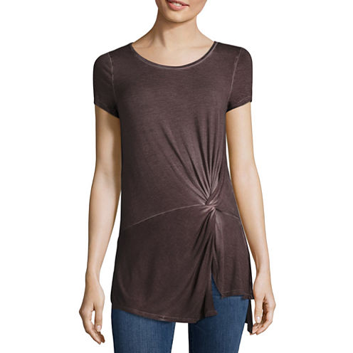 a.n.a Short Sleeve Knot Front Top