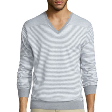 jcpenney.com | Claiborne® Long-Sleeve Thermolite Striped V-Neck Sweater