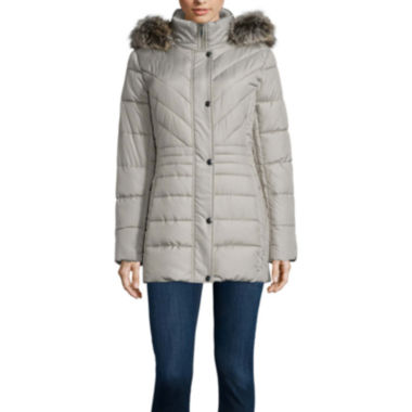 jcpenney.com | Liz Claiborne® Side Panel Puffer Jacket with Fur Hood - Tall