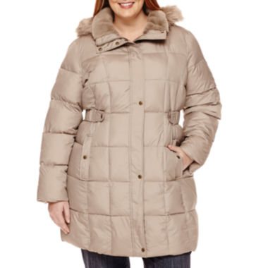 jcpenney.com | Liz Claiborne® Side-Tab Puffer Jacket With Faux-Fur Collar