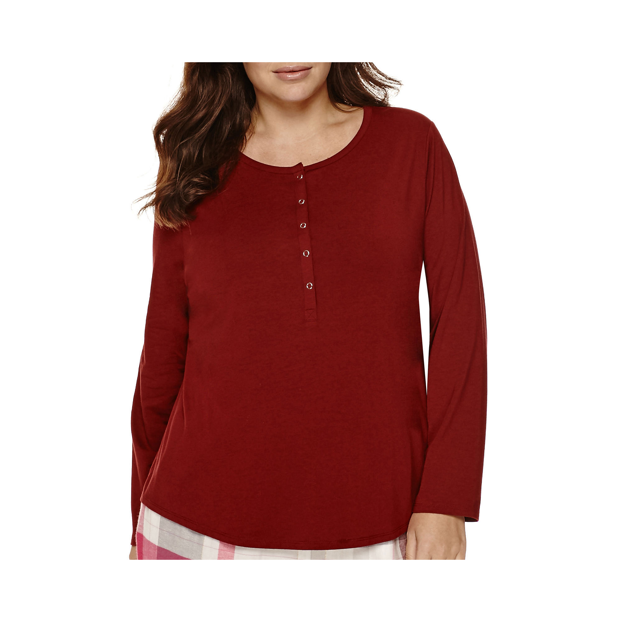 Liz Claiborne Long-Sleeve Henley Sleep Tee - Plus plus size,  plus size fashion plus size appare