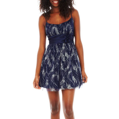 jcpenney.com | Rosette Glitter Mesh Dress