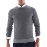 jcp™ Striped Merino Wool Crewneck Sweater